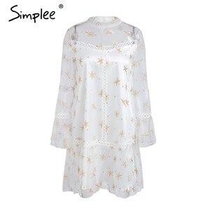 Image 4 - Simplee Mesh star print transparent lace dress women Hollow out long sleeve summer dress Streetwear short casual dress vestidos