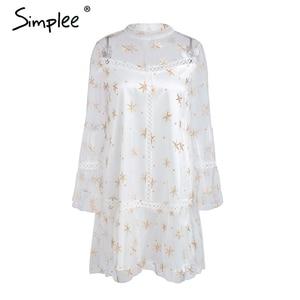 Image 4 - Simplee メッシュスタープリント透明レースのドレスの女性中空アウト長袖サマードレスストリートショートカジュアルドレス vestidos