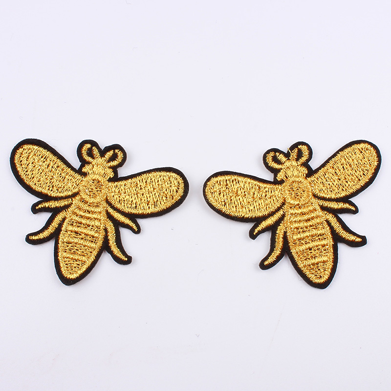 Silver Silver//Gold Embroidered Sewing Iron on Bees Patches Sewing Patch for Clothes Applique Embroidery DIY Supplies Crafts Sticker Pack of 12