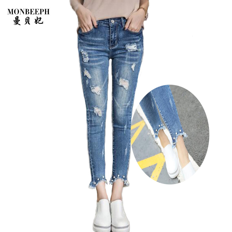 2017 Spring Summer New  Jeans Women Ankle-Length pencil high Waist Jeans Lady Ripped skinny Elasticity Fashion Trousers spring summer new denim pants jeans women vintage ankle length jeans high waist lady ripped hole fashion trousers plus size