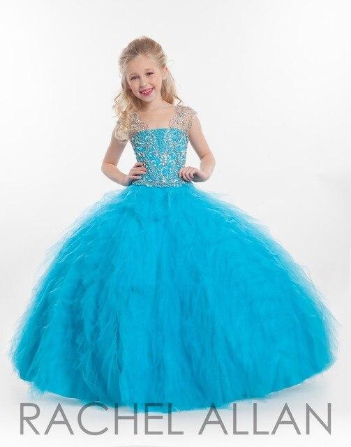 e310f1f17cf Blue Pageant Dresses for Girl Jewel Sheer Neck Glitter Crystal Beadings  Children Ball Gown Prom Dresses