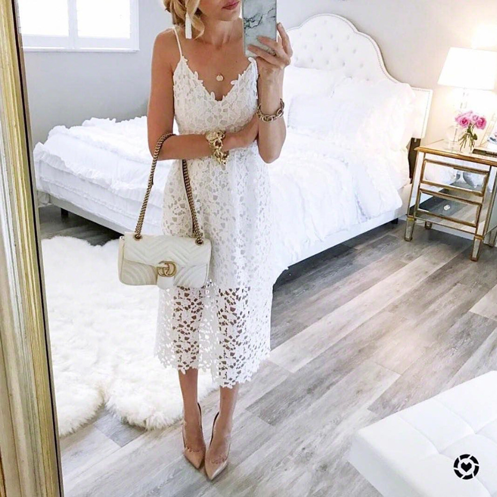 Bohemian lace solid white sleeveless mid-calf woman dresses summer beach spaghetti strap v-neck female