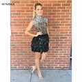 Short Feather Cocktail Dresses Cap Sleeves High Neck Rhinestones Sequins Beaded Party Gowns For Teens Robe De Cocktail SAU574