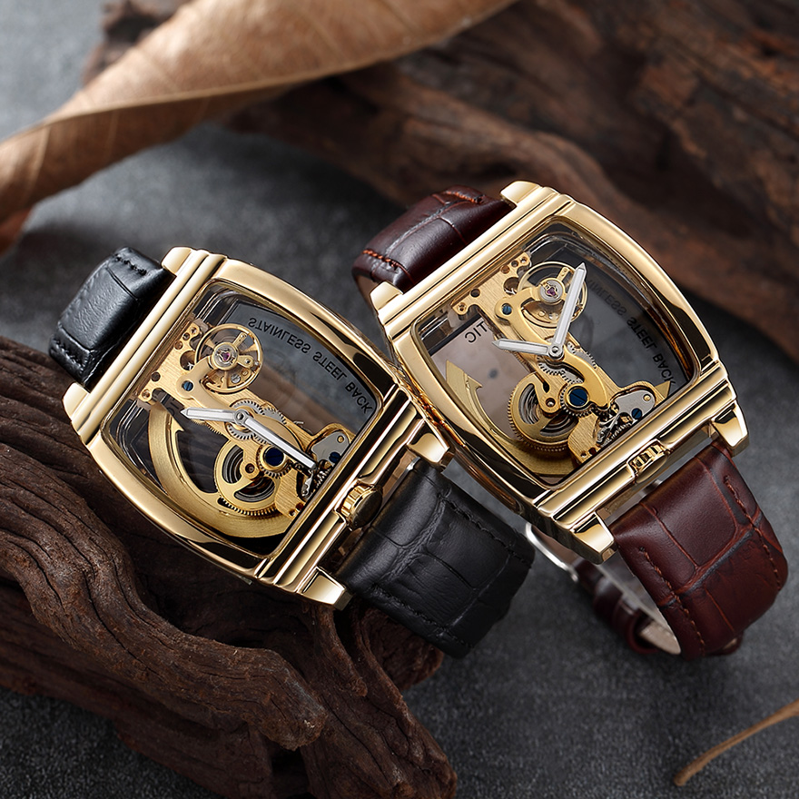 Transparent Automatic Mechanical Watch Men Steampunk Skeleton Luxury Gear Self Winding Leather Men's Clock Watches montre homme 2