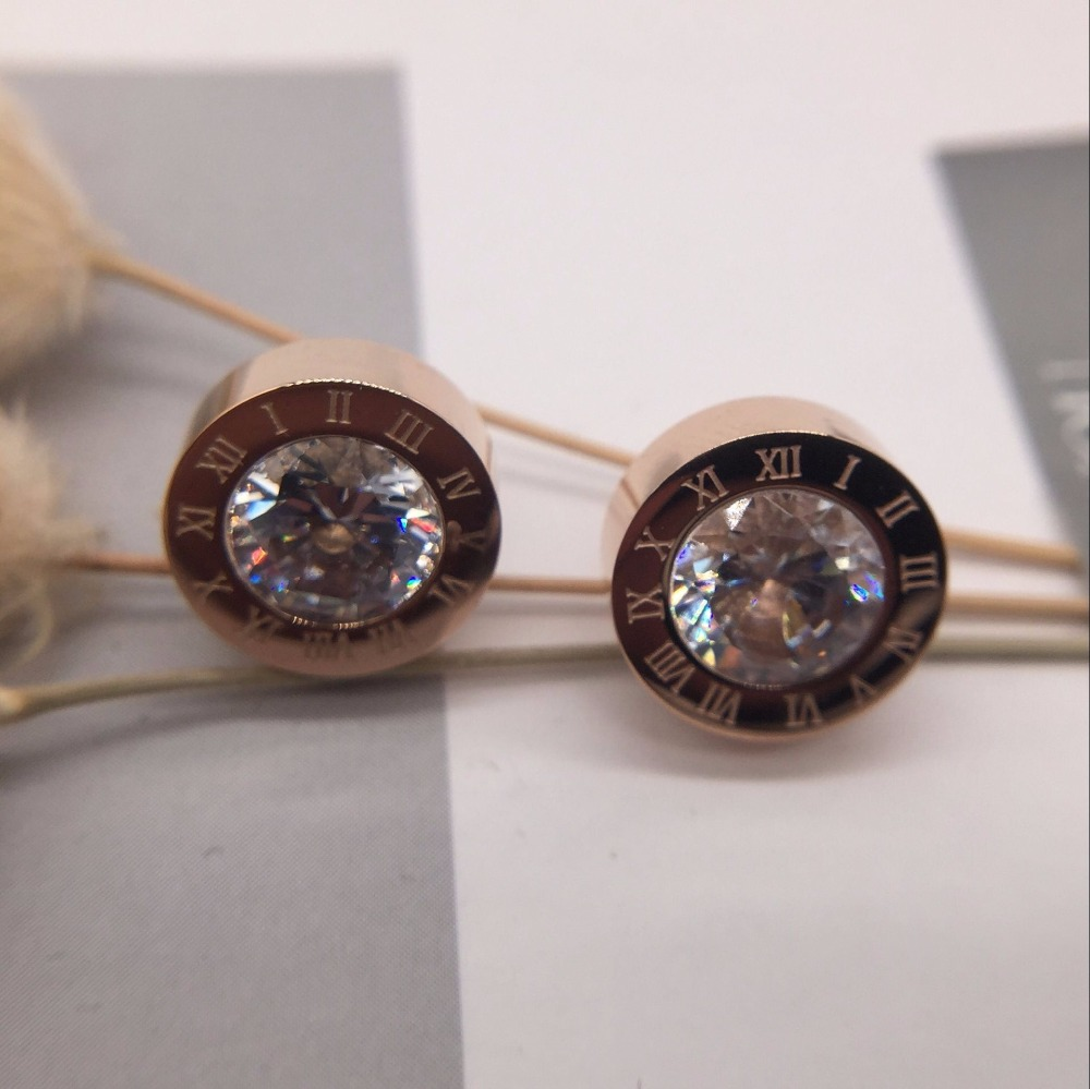 Fashion Jewelry never fading 18KGF rose gold filled 316L Stainless Steel cubic zircon Roman numerals Stud Earrings girls Women