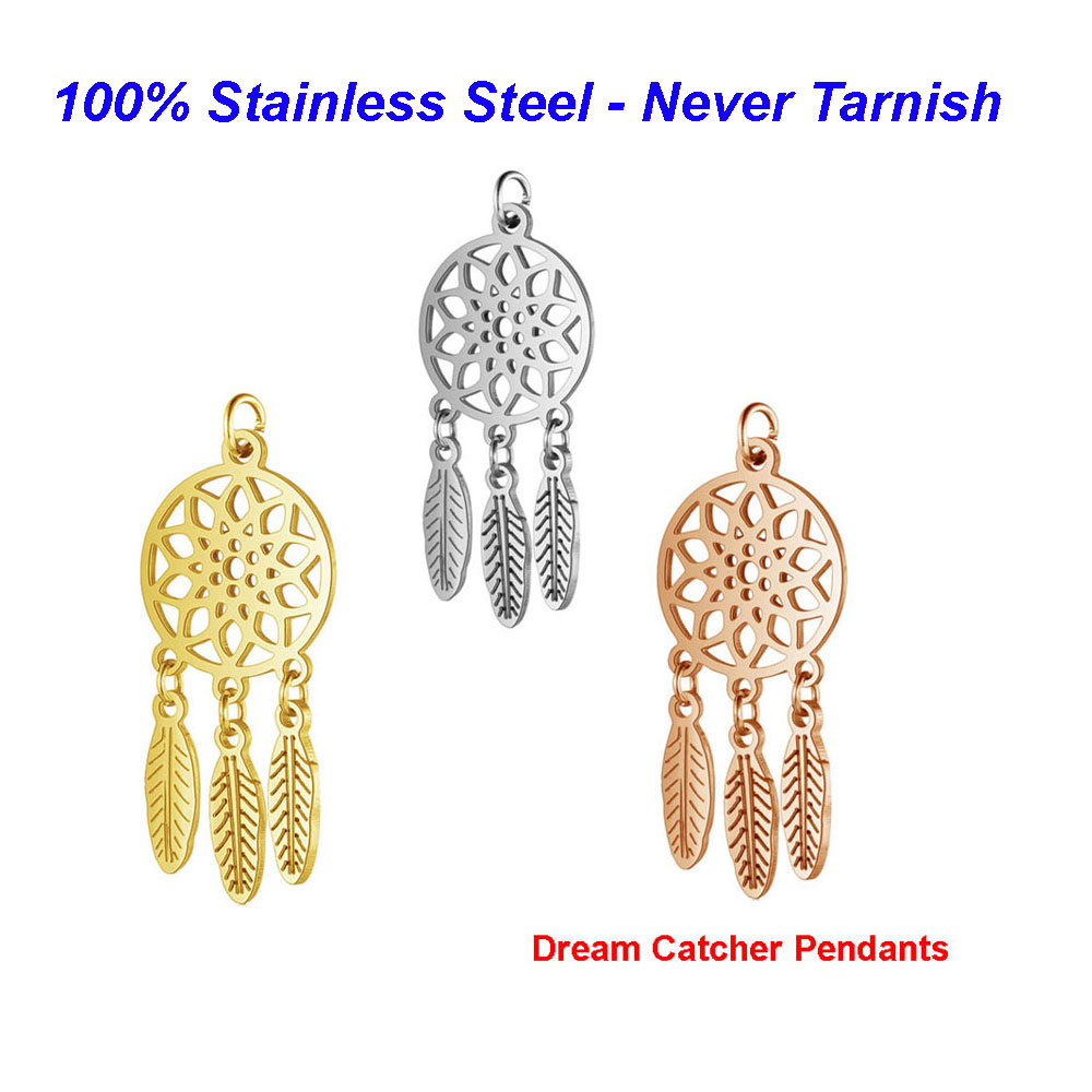 Handmade Finding-Supplies Dream-Catcher-Pendant Lotus-Net Jewelry-Making 316l-Stainless-Steel