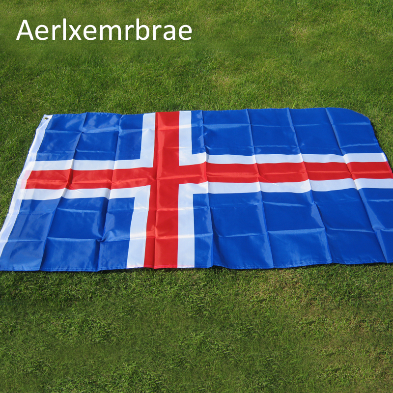 Free Shipping <font><b>2016</b></font> The Iceland Flag Polyester Flag 5*3 FT 150*<font><b>90</b></font> CM High Quality Cheap Price In-kind Shooting image