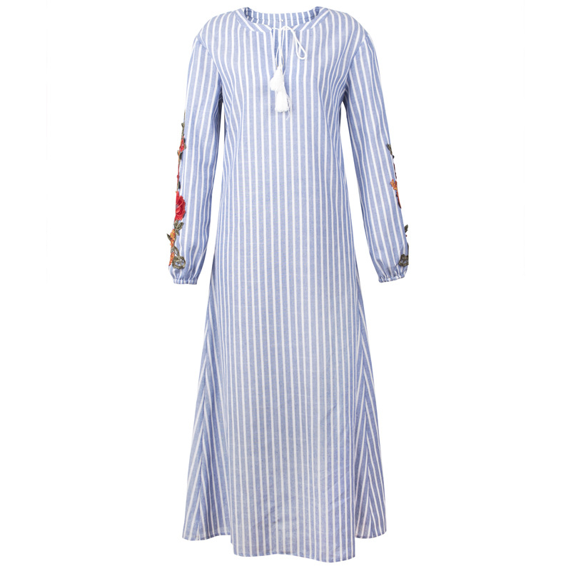 d1c4a28726 AICVLGR Blue and White Striped Maxi Dress Women Embroidery Flower Long  Sleeve Autumn Dress 2018 Female V Neck Plus Size Robe-in Dresses from  Women's ...
