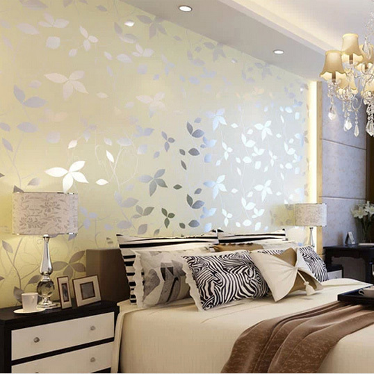 leaf pearl lustre fabric wallpaper 3d yellow and pink colors for daughter  bedroom wall nice choice. Wallpaper For Bedroom Walls