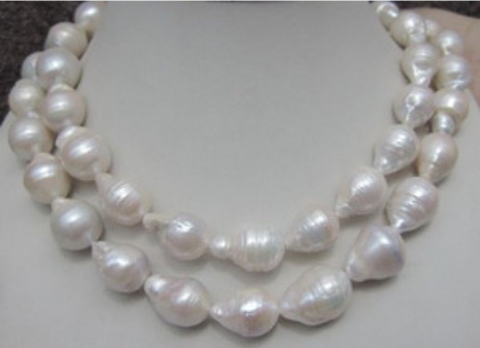zj 00088 HUGE 12-18MM NATURAL AAA SOUTH SEA WHITE BAROQUE PEARL NECKLACE