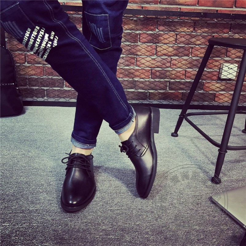 ФОТО Police Platform Men Leather Shoes China Various Plain Men's Leather Moccasins Uniform Insole Increase Full Grain Leather Lawyer