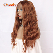 Oxeely Synthetic Hair Lace Front Wigs Deep Wave Dark Orange Color Wigs