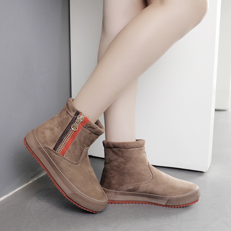 Women Winter Boots Suede Snow Ankle Boots Female Warm Winter Shoes Woman Round Toe Botas Mujer warm women winter boots women ankle snow boots cowhide sweet flowers round the end of short barrels bread shoes mianxie