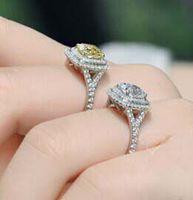 2 קרט NSCD אלגנטי פנינה סינתטית טבעת האירוסין יום נישואים תכשיטי אבן צהוב או ורוד/לבן אבן