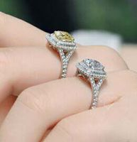 D VVS1 2 Carat Elegant NSCD Lab Diamond ENGAGEMENT Anniversary RING Sterling Silver Jewelry Yellow Stone