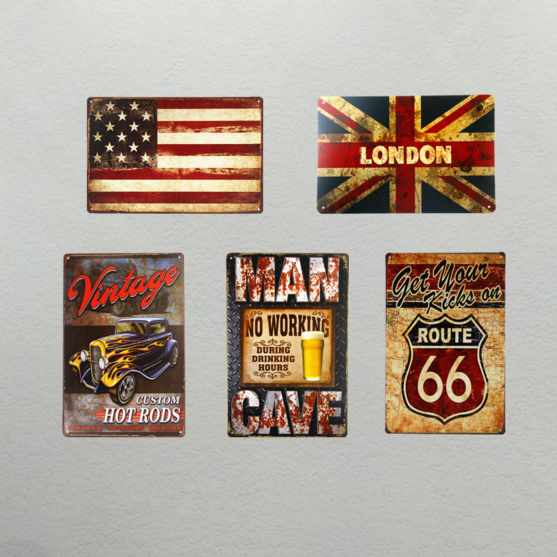 T-Ray Art wall decor Vintage USA map UK map Man cave PAINTING Metal Poster Retro Mural Painted Pub home decor 20*30cm