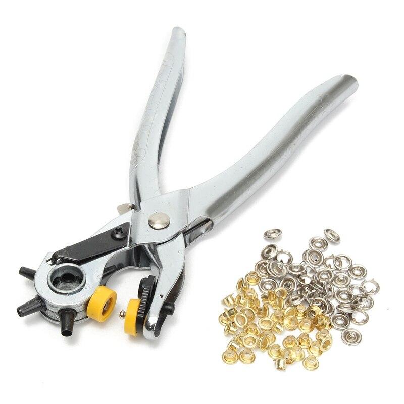 Großhandel Dreh Schwere Revolvierende Leder Gürtel Holes Punch Handbox Zangen Werkzeug Ösen 6 Größe 4,5mm, 4mm, 3,5mm, 3mm, 2,5mm