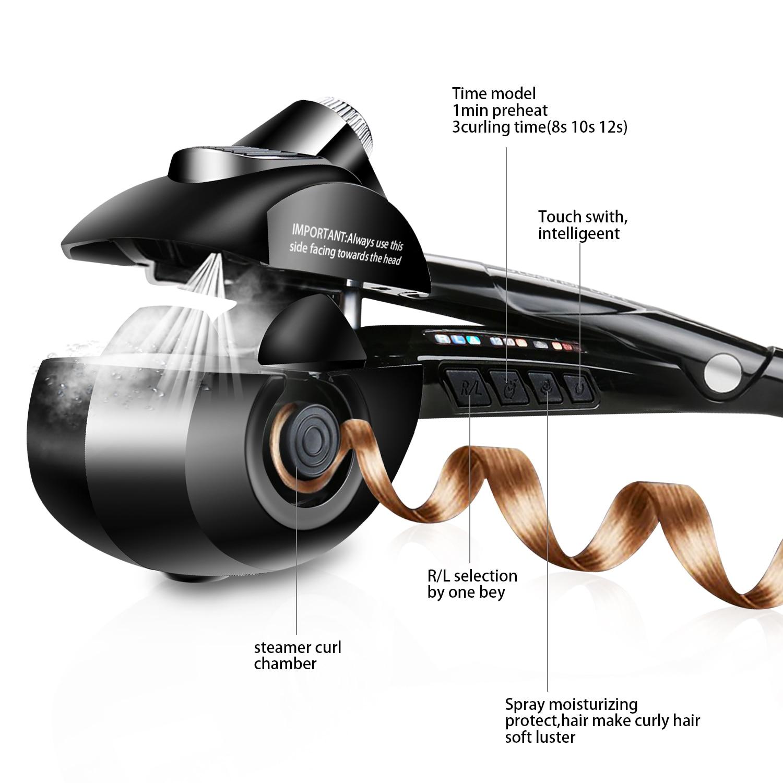 Titanium Auto hår curler med dampspray hårpleje Styling værktøjer keramisk bølge magisk curling jern hår