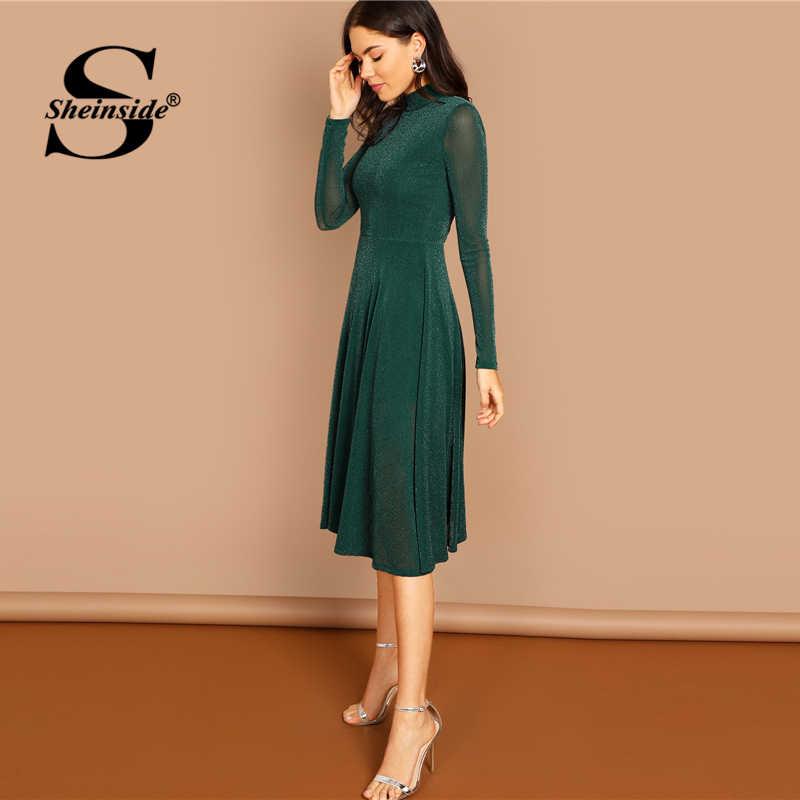 cb128285be ... Sheinside Green Mock Neck Glitter Women Midi Dress Elegant Fit & Flare  Long Sleeve Dresses 2018 ...