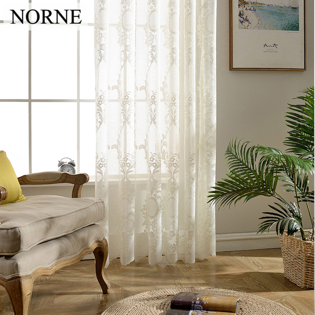 Norne Decorative Semi White Lace Sheer Curtain Tulle Voile Panels