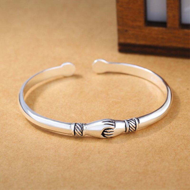 New Retro Female 925 Sterling Silver Jewelry Bracelets Opening Handshake Creative Friendship Bangles  SB47