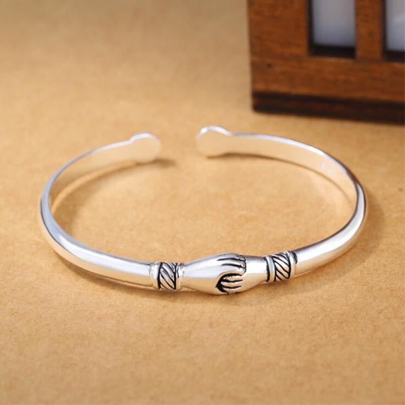 New Retro Female 925 Sterling Silver Jewelry Bracelets Opening Handshake Creative Friendship Bangles  SB47