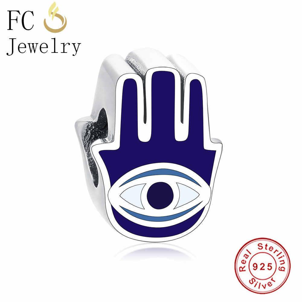 FC ジュエリーフィットオリジナルパンドラチャームブレスレットバングル 925 シルバーエナメルブルー邪眼ハムサファティマの手ビーズ作る Berloque DIY