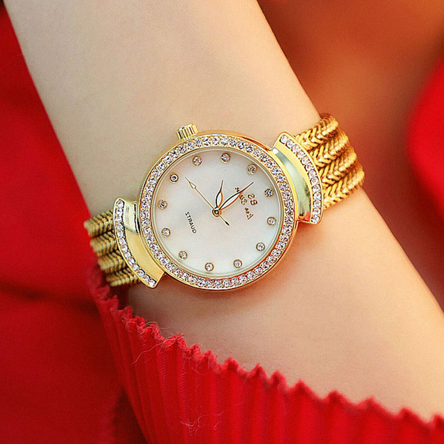 2018 New Style Fashion Free Shipping Hot High Quality Top Brand Luxury Gold Ladies Watch Quartz Women Bracelet Wrist Watches BS