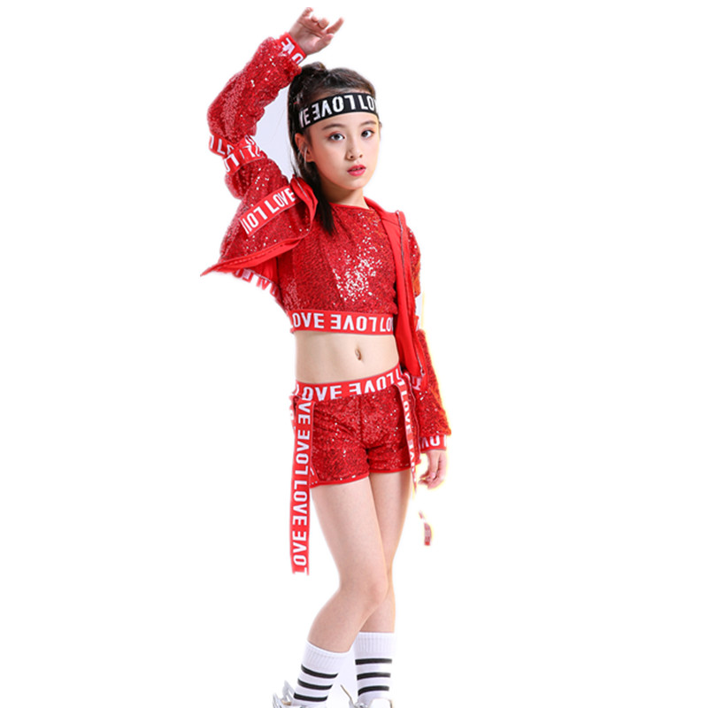 Children's Jazz Dance Street Dance Costumes Sequin Costumes Girls New Girls Spring and Autumn Modern Dance Sets