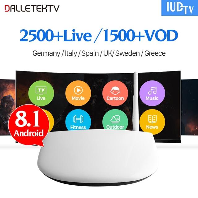 IPTV Europe 2500 Live Channels 1 Year IUDTV IPTV Code Subscription French Swedish IP Tv Box Dalletektv Android 8.1 Smart TV Box