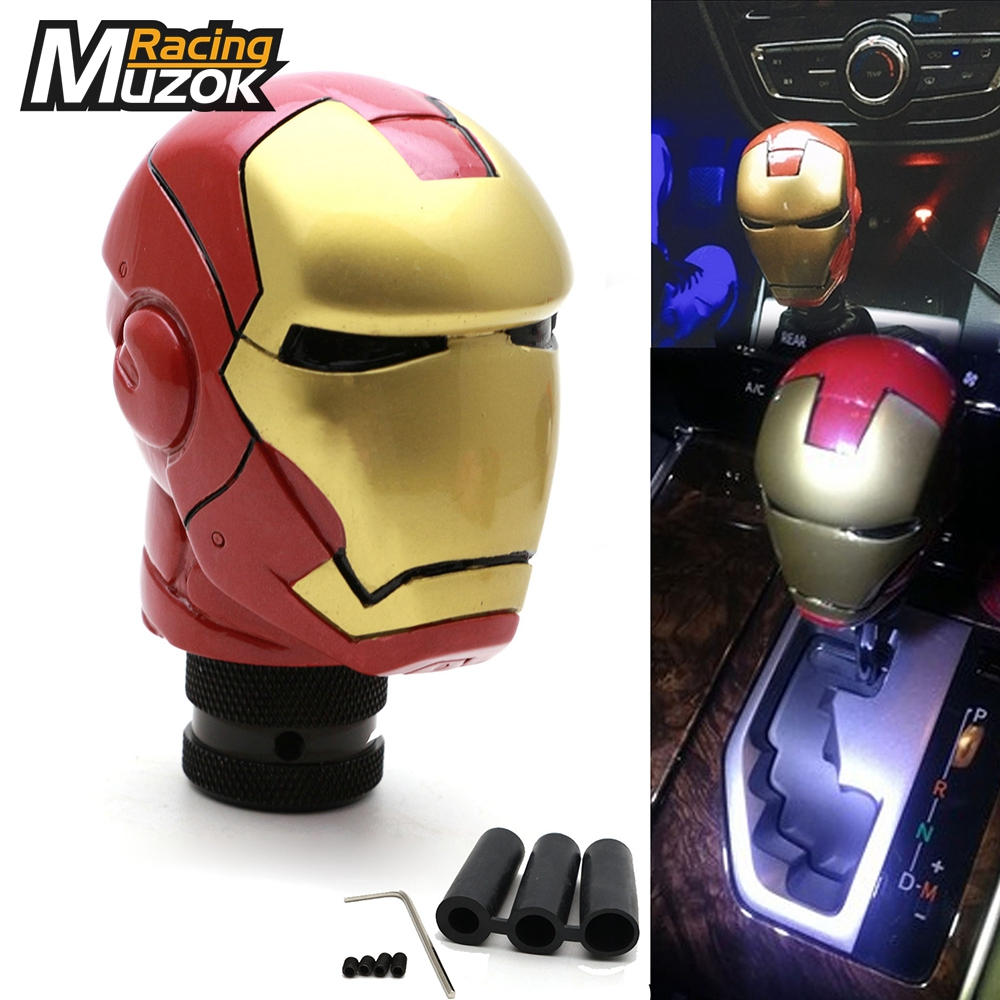 Universal Iron Man Style Gear Shift Knob with 3 Adapters Shifter Level