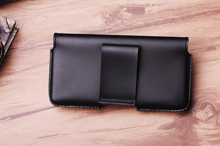 SZLHRSD hommes ceinture Clip en cuir véritable pochette taille sac pour Xiao mi A2 Oukitel K8 téléphone couverture pour Elephone soldat cas noir - 2