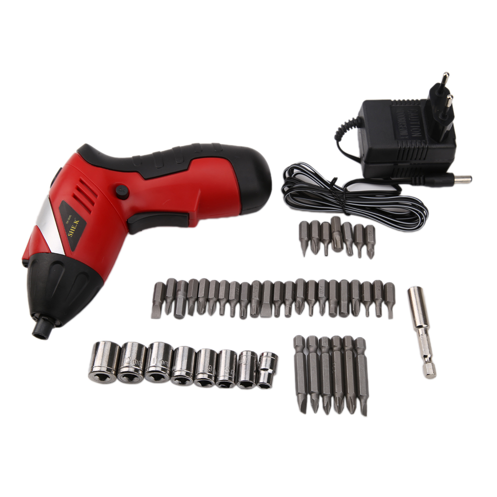 Cordless Screwdriver Electric Drill Battery Rechargeable Power Tools Set Multi-function 46pcs Electric Screwdriver Tool Kit 2016 45 pcs rechargeable cordless reversible electric screwdriver 4 8v kit set hot handheld electric screwdriver