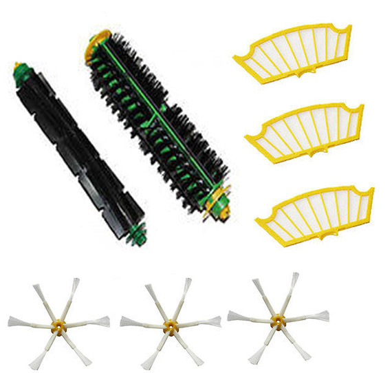 цены на Bristle Brush + Flexible Beater Brush + 3 xSide Brush +3x Filter for iRobot Roomba 500 Series Vacuum Cleaner 520 530 540 550 560 в интернет-магазинах