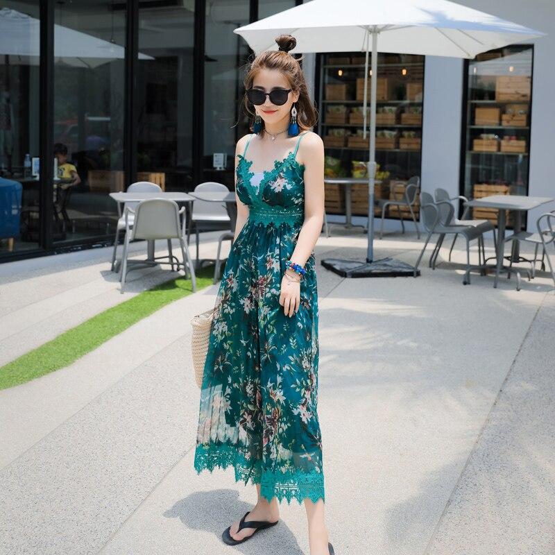 Combinaison élégante Top Polyester impression droite moulante combinaison 2019 nouvelle dentelle siamois plage stations pantalon large femme