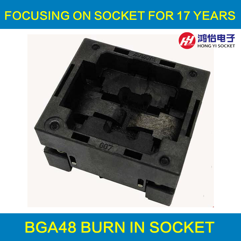BGA48 OPEN TOP burn in socket pin pitch 0.8mm IC size 6*10mm BGA48(6*10)-0.8-TP05/50N BGA48 VFBGA48 Burn in/programmer socket fshh qfn32 to dip32 programmer adapter wson32 udfn32 mlf32 ic test socket size 3 2mmx13 2mm pin pitch 1 27mm
