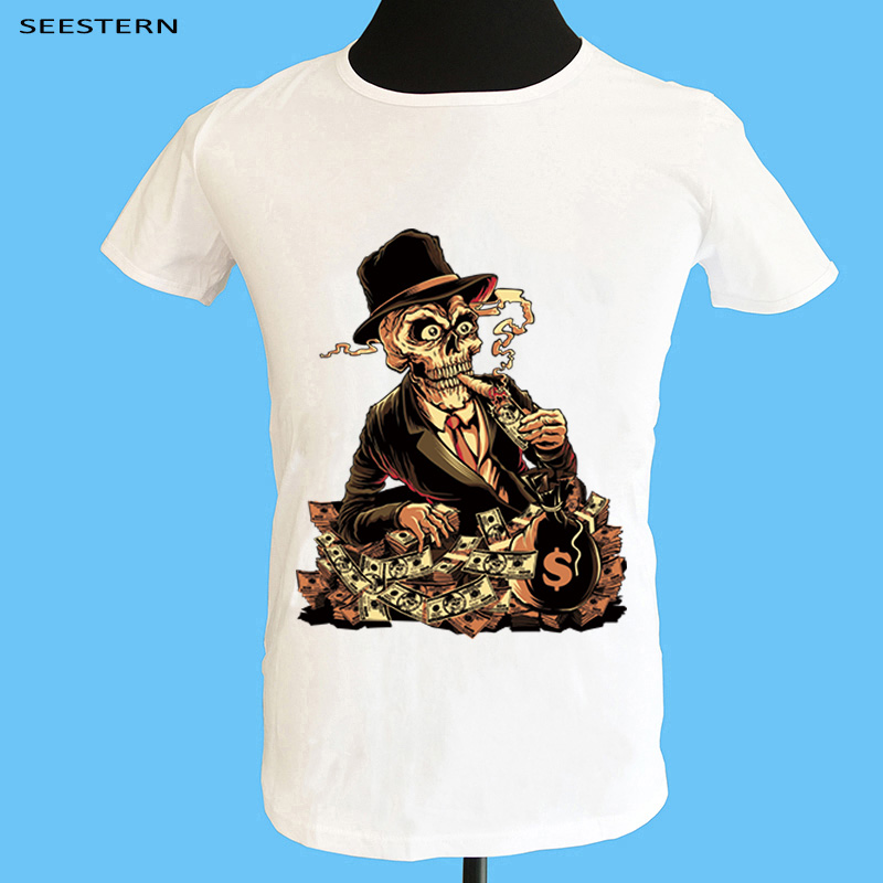 Seestern brand clothing printing funny sexy skateboard casino game skull smoking fashion men women T shirt Summer Cotton tops