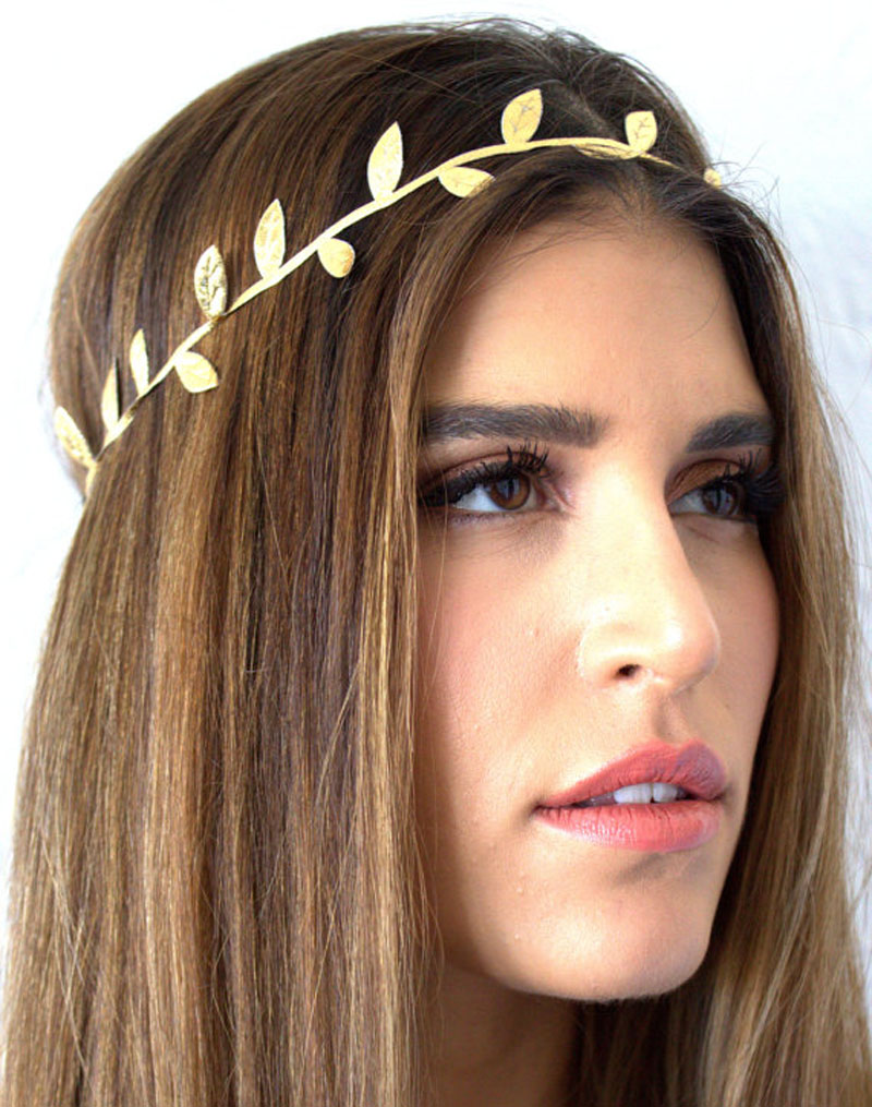 Delicate gold leaf headband for women hair accessories
