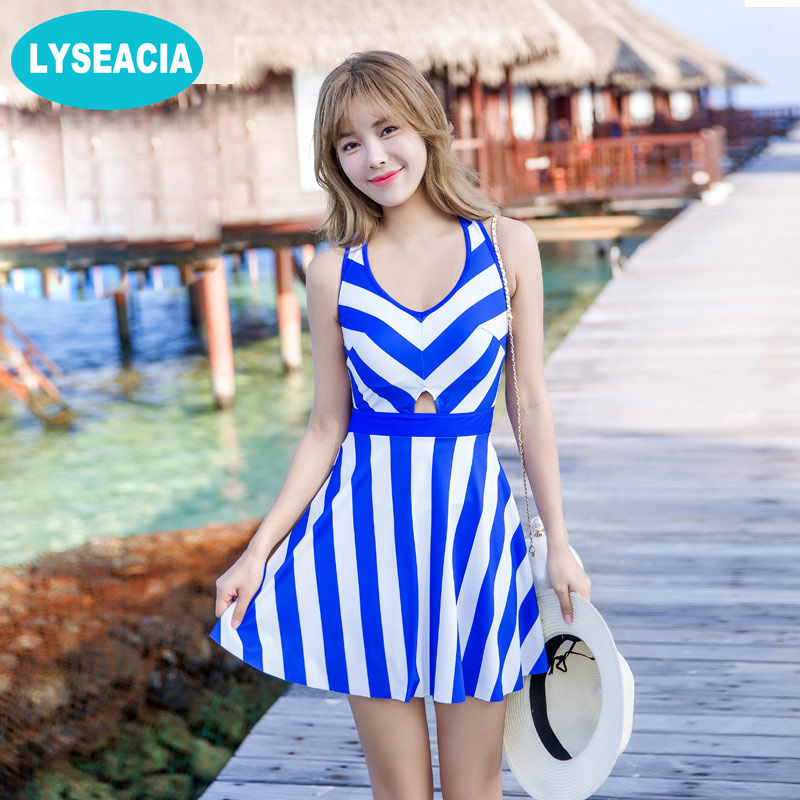 LYSEACIA M-3XL Large Sizes Swimsuit 2017 Blue Stripes Swim Skirts Women Sleeveless Jumpsuit One Pieces Swimwear Bathing Suits maison jules new blue women large l umbrella printed surplice jumpsuit $79 059