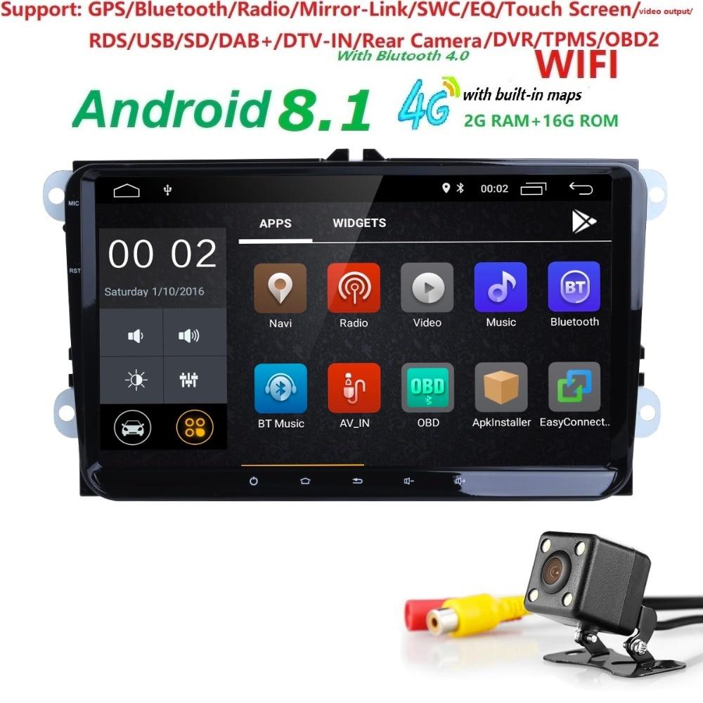 2Din 9 pouces Quad core Android 8.1 voiture dvd GPS pour V W Polo J etta Tiguan passat b6 cc fabia miroir lien wifi Radio dans dash 2g RAM