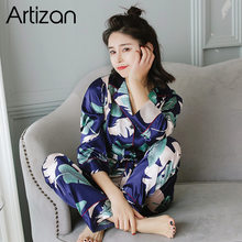 Artizan pjs para pijama de seda de cetim feminino conjunto de pijama de manga longa casual pijamas de dormir confortável loungewear cetim 2 peça