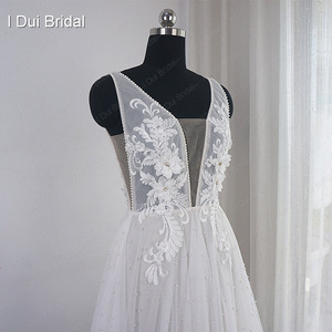 Image 4 - Pearl Wedding Dress with Lace Appliques Boho Chic Bridal Gown Beach Style Light Weight Factory Real Photo