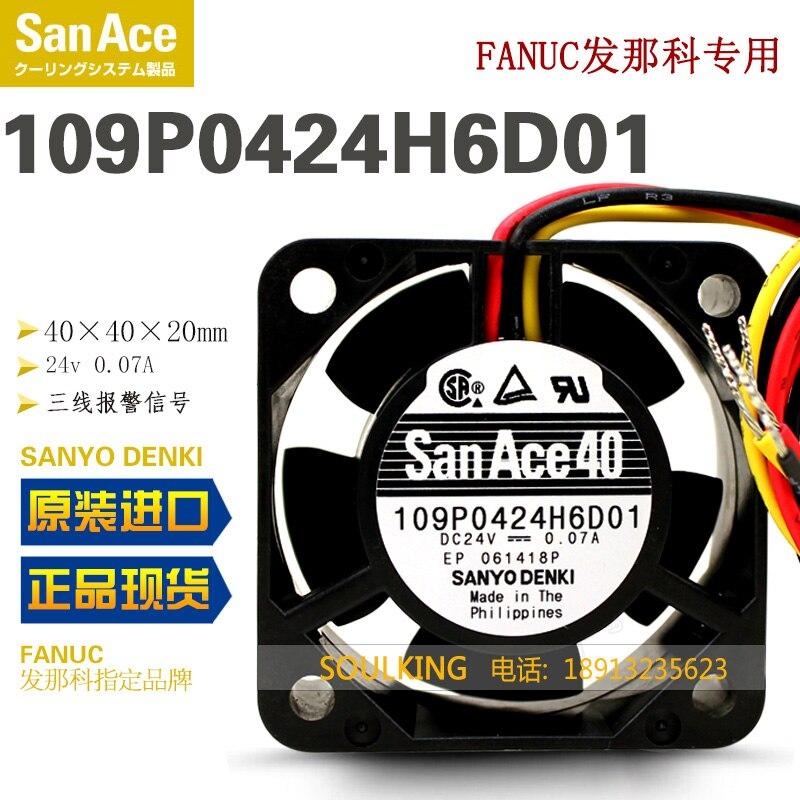 NEW SANYO DENKI SAN ACE 109P0424H6D01 4020 DC 24V 0.07A 4CM FOR FANUC cooling fanNEW SANYO DENKI SAN ACE 109P0424H6D01 4020 DC 24V 0.07A 4CM FOR FANUC cooling fan