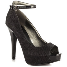 Black Sequin Glitter Women Pumps Ankle Straps Buckle Peep Toe Platform Cheap Shoes Online Ladies Shoes Size 4  Designer Shoes