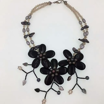 flower black agat stone and freshwater pearl  beads necklace 19inch weholesale beads gift  FPPJ