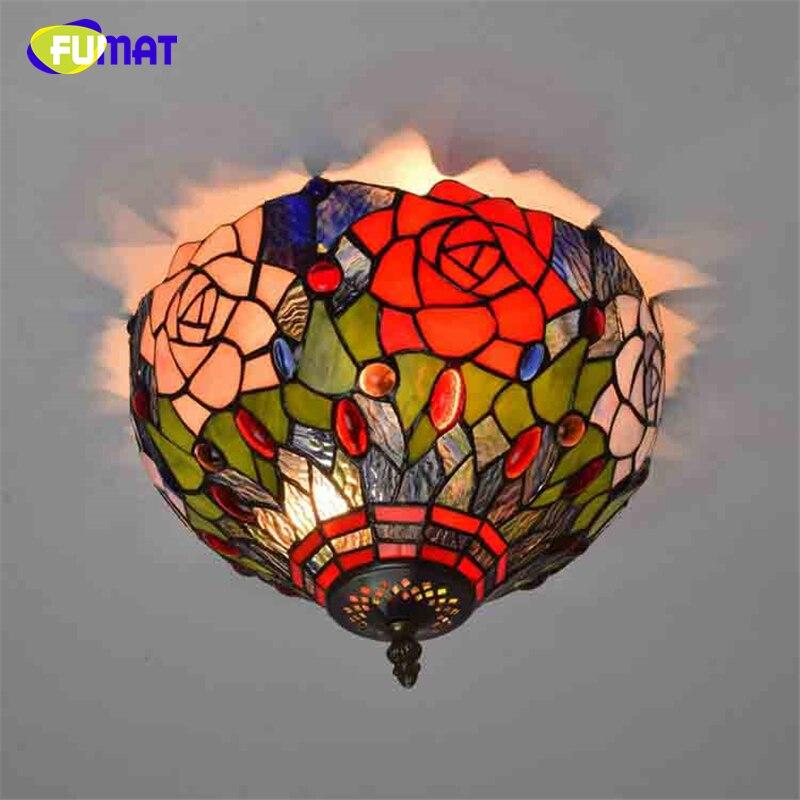 FUMAT Vintage Rose Schatten Kunst Glas Deckenleuchten Fr Wohnzimmer Tiffany Glasmalerei Deckenleuchte Korridor LED