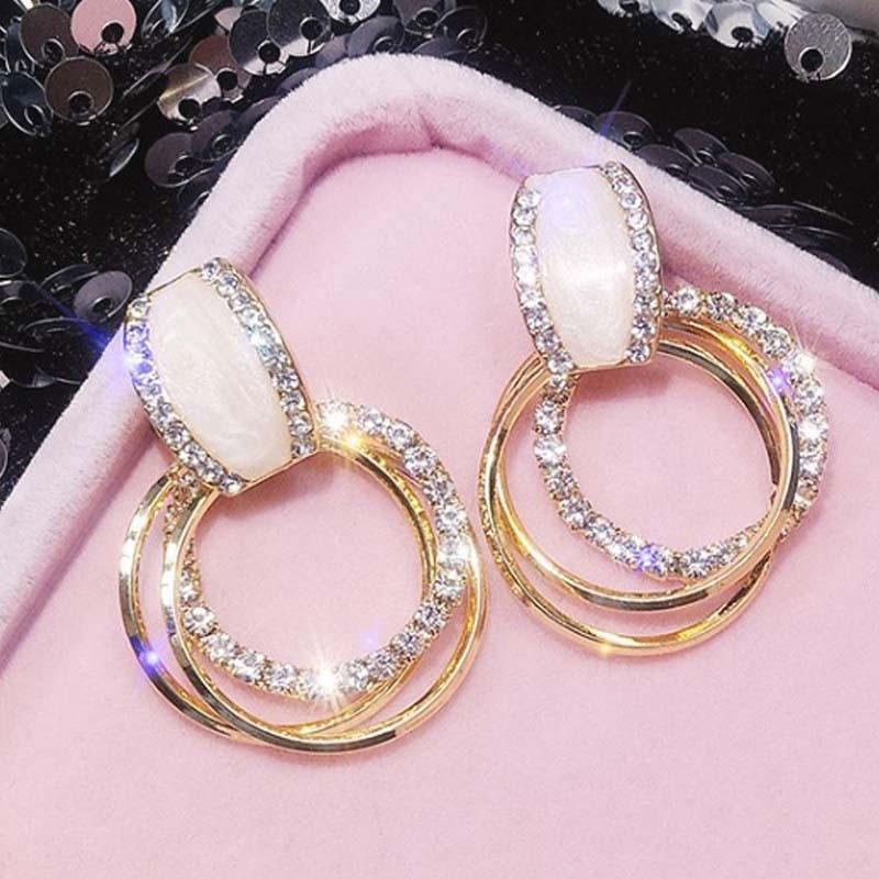 Nouveau design mode suspendus boucles d'oreilles géométrique rond brillant strass boucles d'oreilles femmes bijoux en gros