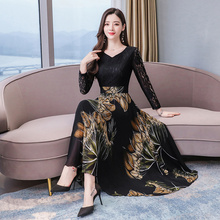 2020 Vintage 3XL artı boyutu çiçek Maxi elbiseler sonbahar kış yeni uzun kollu dantel seksi elbise kadınlar zarif Bodycon parti vestido