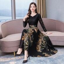 Винтажные платья макси размера плюс 3XL с цветочным принтом, Осень зима, Новое Кружевное сексуальное платье с длинным рукавом, женские элегантные облегающие вечерние платья, 2020