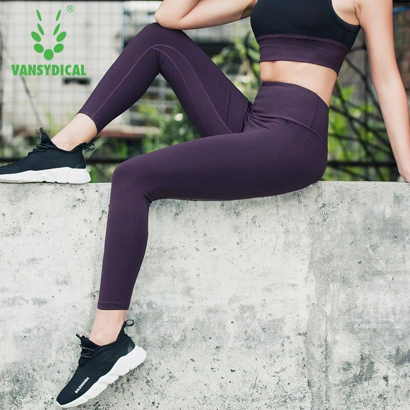 Beliebte Marke Vansydical Frauen Fitness Hosen Weibliche Elastische Strumpfhosen Sommer Sport Schnell Trocknend Atmungsaktive Lauf Yoga Hosen Tragen Hochglanzpoliert Laufstrumpfhosen